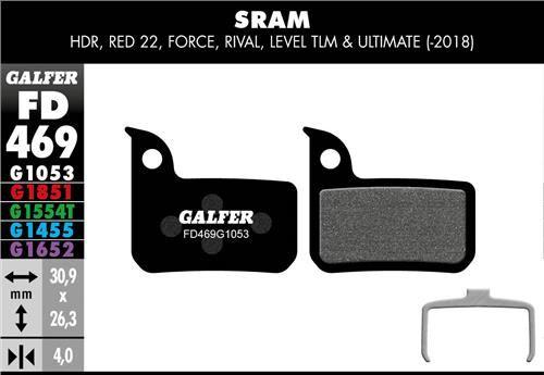 brzdové destičky Galfer FD469 Sram Level ULT/TLM (old), HDR (standard black)
