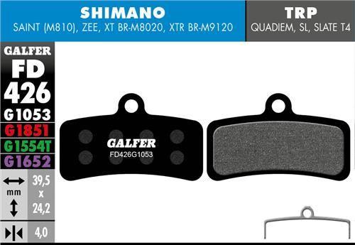 brzdové destičky Galfer FD426 Shimano Saint, Zee, TRP (standard black)
